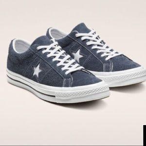 Converse One Star Vintage Suede Sneakers in Navy